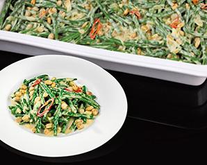Curry z zielonej fasolki szparagowej i ciecierzycy