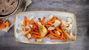 Kurczak sous-vide z pieczoną dynią i grzybami w śmietanie